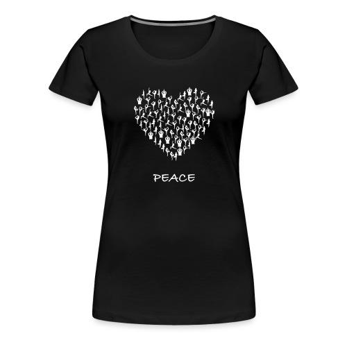 Peace Yoga Heart With Tiny Yoga Poses Meditation - Premium T-skjorte for kvinner