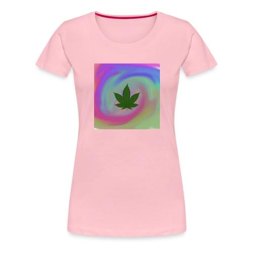 Hanfblatt auf bunten Hintergrund - Frauen Premium T-Shirt