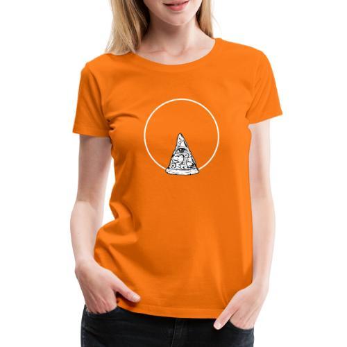 All sehendes Auge Pizza (weißer Druck) - Frauen Premium T-Shirt