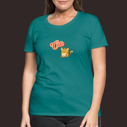 Katze   Katzen süß Schriftzug - Frauen Premium T-Shirt
