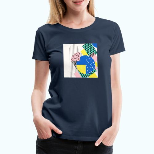Retro Vintage Shapes Abstract - Women's Premium T-Shirt