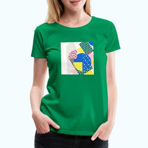 Retro Vintage Shapes Abstract - Women's Premium T-Shirt