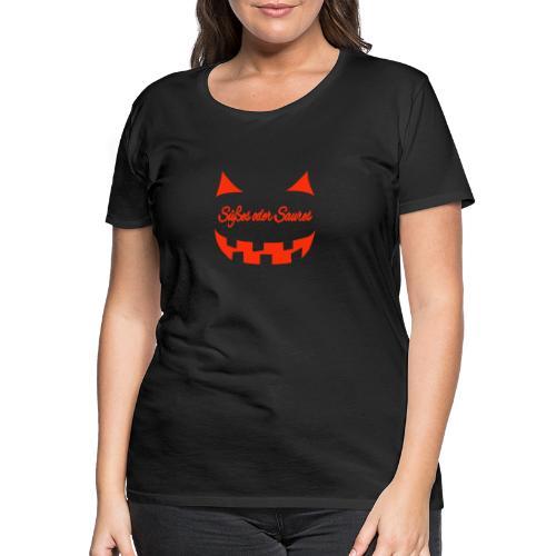 Halloween Süßes oder Saures mit Gruselgesicht - Frauen Premium T-Shirt