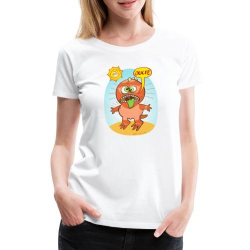 Bad summer sunburn for a funny dinosaur - Women's Premium T-Shirt