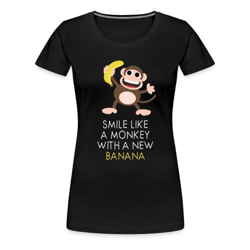 Monkey with banana - Frauen Premium T-Shirt