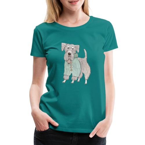 schnauzer with sweater - Dame premium T-shirt