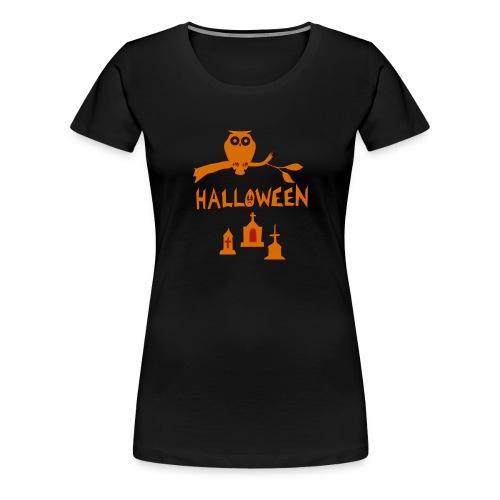Spooky Halloween mit Eule - Frauen Premium T-Shirt