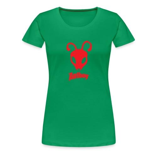 ANTBOY LOGO rød m tekst - Dame premium T-shirt