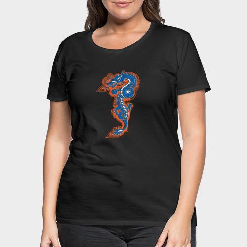 DRAGON AZUL Y NARANJA - Camiseta premium mujer