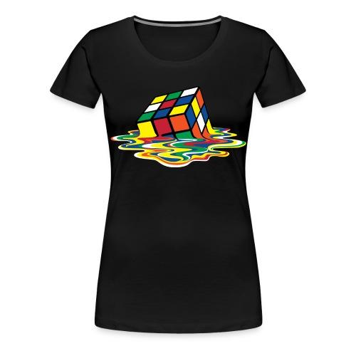 Rubik's Cube Melted Colourful Puddle - Premium T-skjorte for kvinner