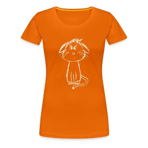 Kat kattunge hvid scribblesirii - Dame premium T-shirt