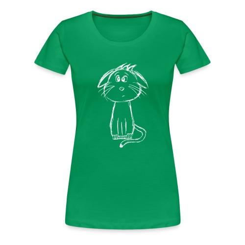 Kissa Kissanpentu valkoinen scribblesirii - Naisten premium t-paita