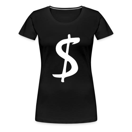 geld verdienen money dollarzeichen in weiss - Frauen Premium T-Shirt