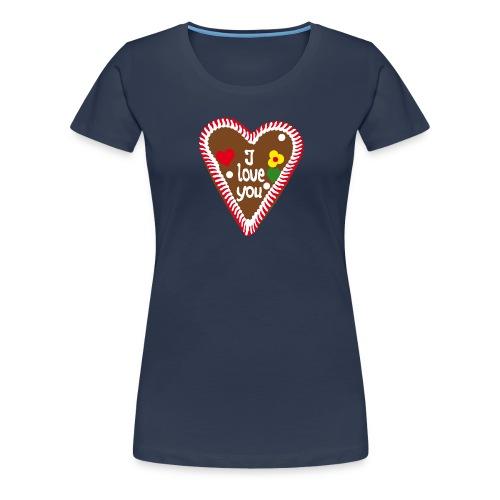 Lebkuchenherz I love you - Frauen Premium T-Shirt
