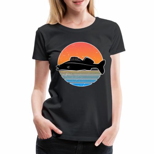 Retro Zander Angeln Fisch Wurm Raubfisch Shirt - Frauen Premium T-Shirt