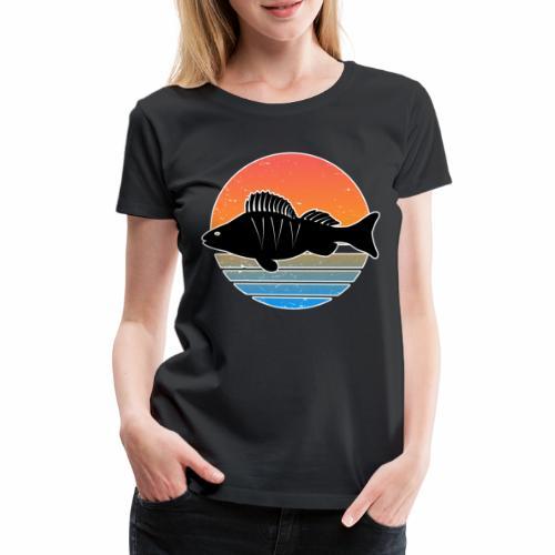 Retro Barsch Angeln Fisch Wurm Raubfisch Shirt - Frauen Premium T-Shirt