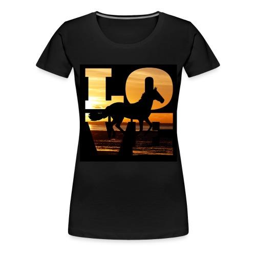 Mit dem Pferd in den Sonnenuntergang reiten - Frauen Premium T-Shirt