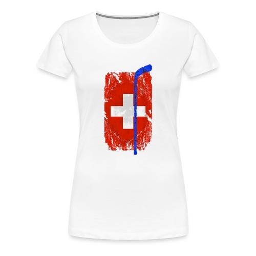 Schweizer Flagge Hockey - Frauen Premium T-Shirt