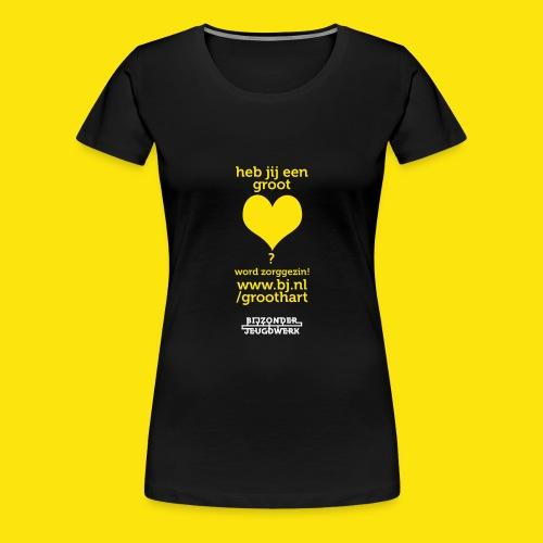 Zorggezinnen gezocht groot hart versie 2 - Vrouwen Premium T-shirt