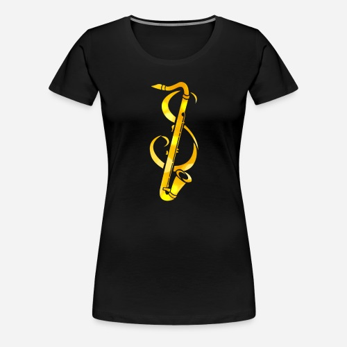 Goldenes Saxophone mit Notenschlüssel - Frauen Premium T-Shirt