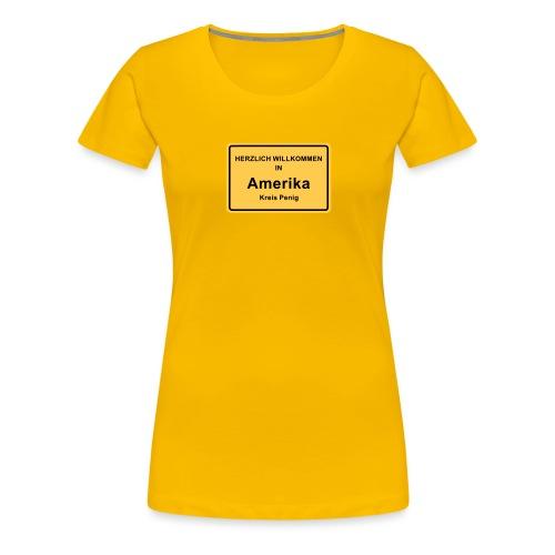 Ortsschild Amerika - Frauen Premium T-Shirt