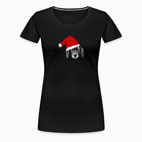 Weihnachten Hundekopf mit Mütze - Frauen Premium T-Shirt