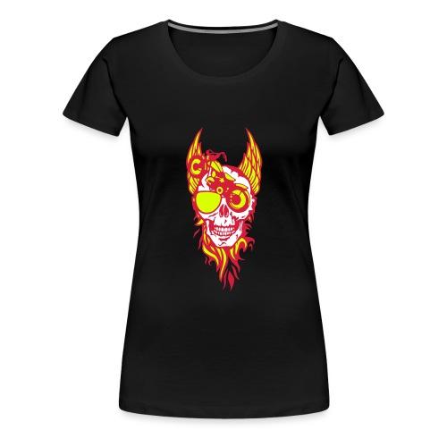 tete mort moto skull aile flamme fire - T-shirt Premium Femme