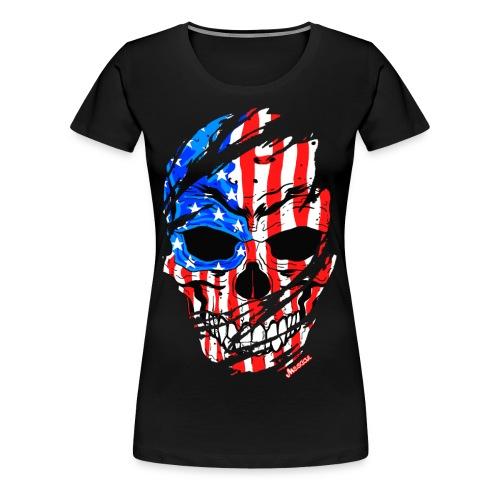 Teschio bandiera USA effetto strappo by Mescal - Maglietta Premium da donna