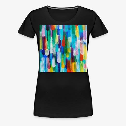 05 Bunte Tropfen Kunst Maske Mundschutz - Frauen Premium T-Shirt