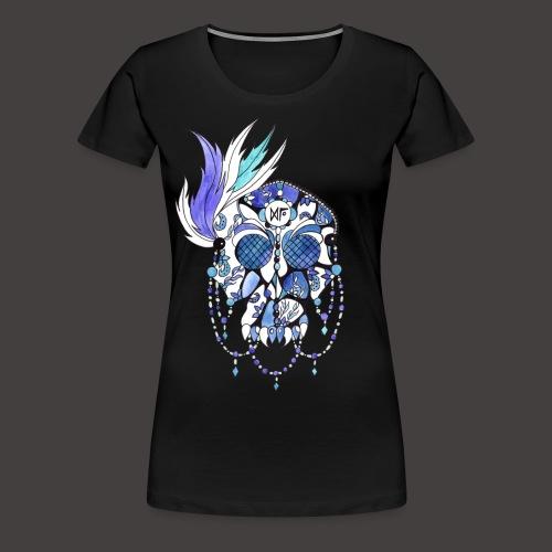 CRANE DENTELLE BLEU FOND NOIR - T-shirt Premium Femme
