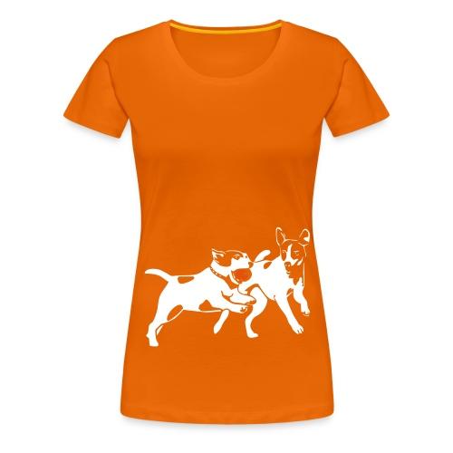 Playing Jack Russell terriers - Naisten premium t-paita