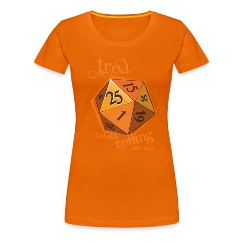 TRoA 25 år - Gul terning - Dame premium T-shirt
