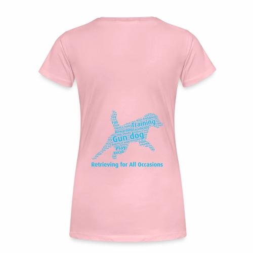 Retrieving for All Occasions wordcloud blått - Premium-T-shirt dam