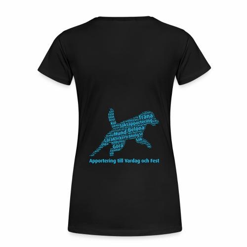 Apportering till vardag och fest wordcloud blått - Premium-T-shirt dam