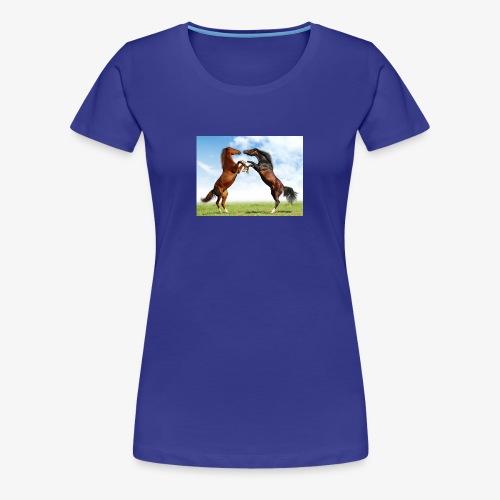 kaksi hevosta - Naisten premium t-paita