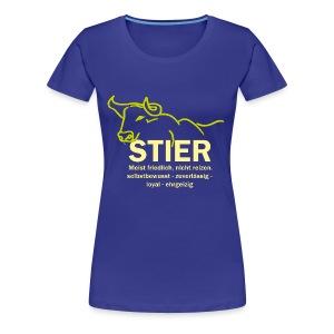 Stier Strich Gruen Text Gelb - Frauen Premium T-Shirt