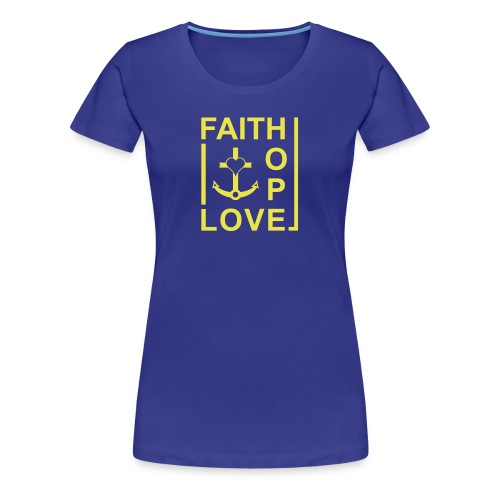 Faith, Love, Hope, mit Herz transparent - Frauen Premium T-Shirt