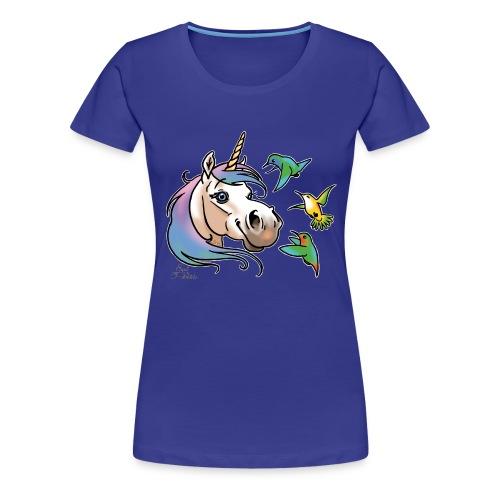 Einhorn und Kolibris (weisse Umrisse - T-shirt Premium Femme