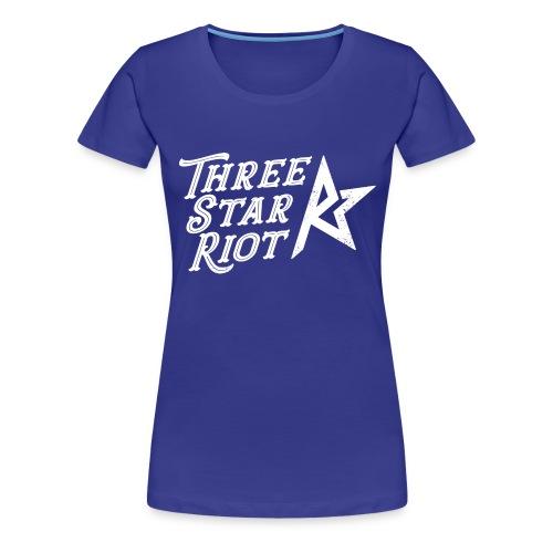 Three Star Riot logo vaalea - Naisten premium t-paita