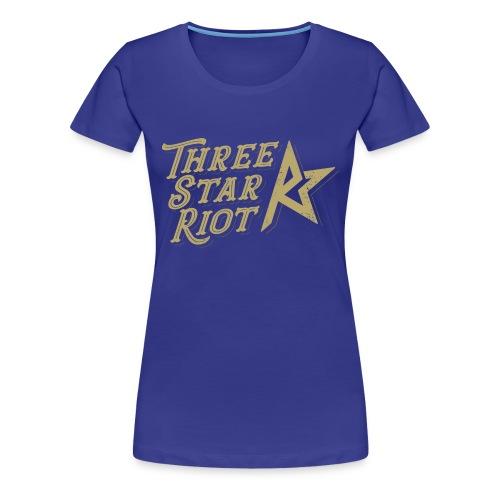 Three Star Riot logo väri - Naisten premium t-paita