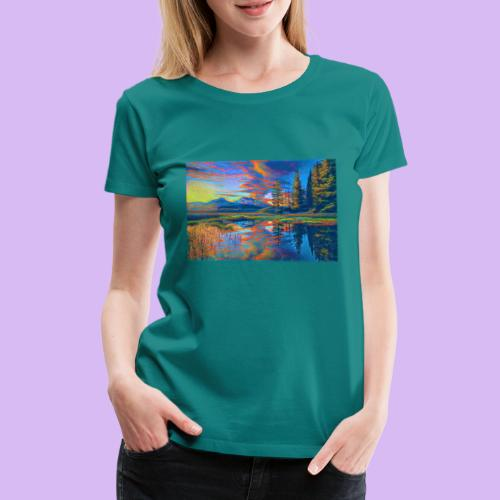 Paesaggio al tramonto con laghetto stilizzato - Maglietta Premium da donna