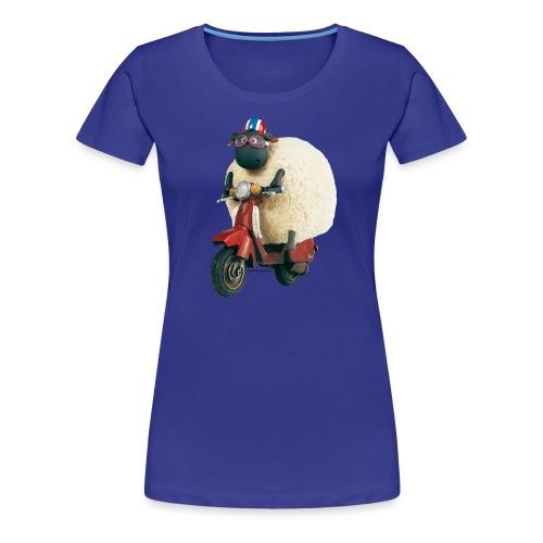 Shaun das Schaf Stoffbeutel - Shirley auf Motorrad - Frauen Premium T-Shirt