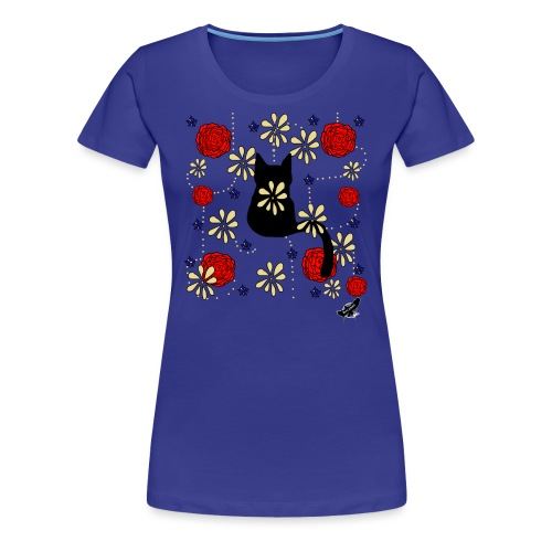 Cat with Flowers by BlackenedMoonArts, w. logo - Dame premium T-shirt