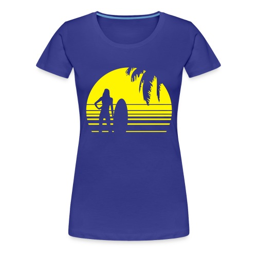 BEACH SURFING GIRL PALME 1C - Frauen Premium T-Shirt