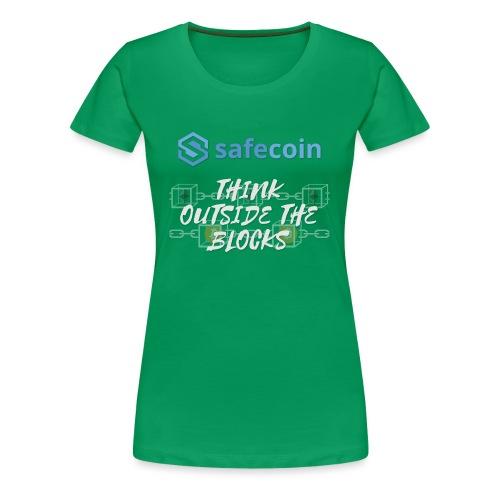 SafeCoin; Think Outside the Blocks (blue + white) - Women's Premium T-Shirt