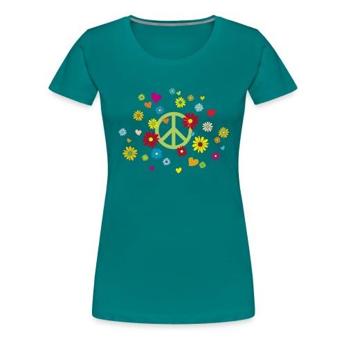 Peacezeichen Blumen Herz flower power Valentinstag - Women's Premium T-Shirt