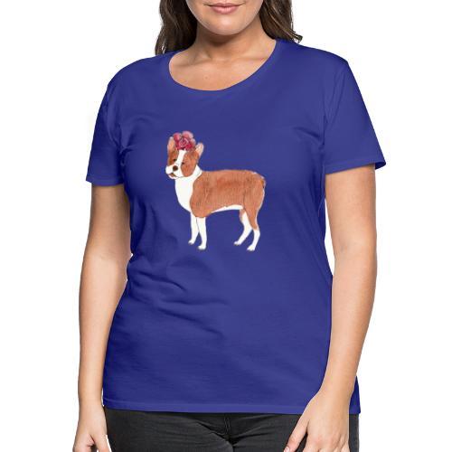 boston terrier with flower - Dame premium T-shirt