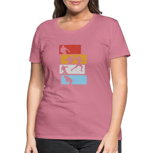 retro streifen football spieler - Frauen Premium T-Shirt