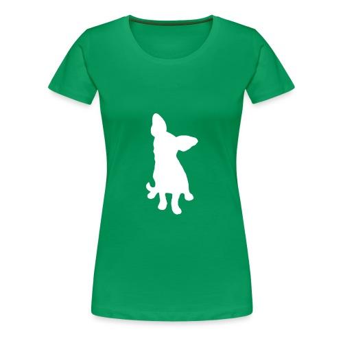 Chihuahua istuva valkoinen - Naisten premium t-paita