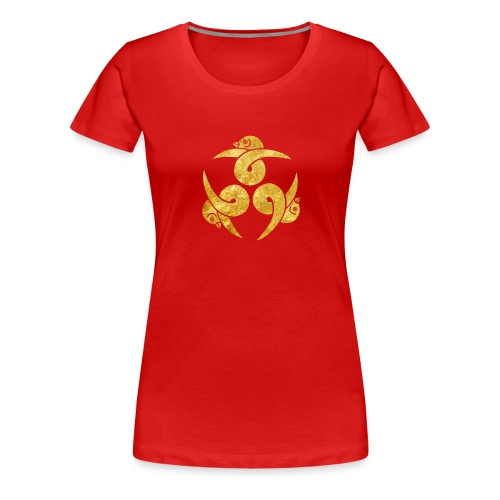 Three Geese Japanese Kamon in gold - Women's Premium T-Shirt